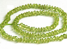 HALF STRAND NATURAL PERIDOT BUTTON / RONDELLE BEADS, 4 MM, GEMSTONE