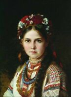"stunning  oil painting handpainted on canvas ""Ukrainian girl"""