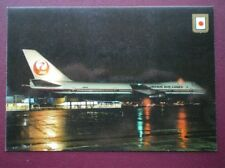 POSTCARD JAPAN AIR LINES BOEING 747 ON THE GROUND IN THE EVENING