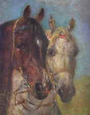 Alois Bach ( 1809 - 1893 )  Ölgemälde auf Holz -  braunes & weisses Pferd