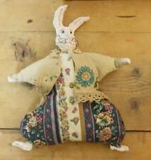"Vintage Bean Bag Bunny Rabbit with Resin Head Feet and Hands 10.5"" Signed"