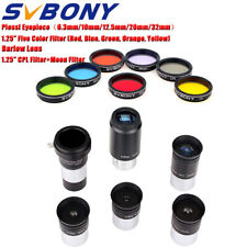 "1.25"" PLOSSL Eyepieces+Barlow Lens(2X)+Color Filter+CPL/Moon Filter to Telescope"