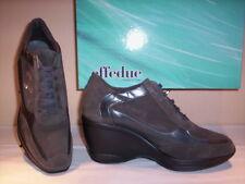 Scarpe sportive sneakers Effedue donna zeppa plateau pelle camoscio grigie 36 37