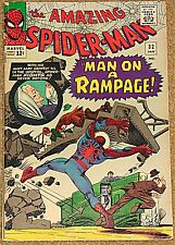 AMAZING SPIDERMAN 32 F  7.5 RARE KEY MAN ON A RAMPAGE STAN LEE DOC OCK