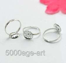 30PCs Adjustable Silver Plated Ring Base Blank Findings 18mm (Tray:10mm)
