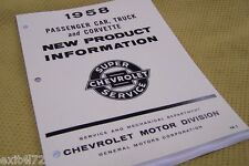 1958 Chevy New Product Guide Manual Corvette level air tri-power BRAKES TRANS