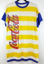 Vintage Coca-Cola T Shirt Yellow Red Blue Striped Color Block Ringer One Size