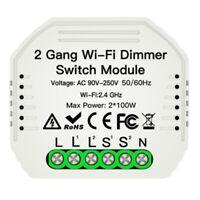 2 Gang DIY WiFi Smart 2 Wege Licht LED Dimmer Modul Schalter Smart Life/Tuy T9G2