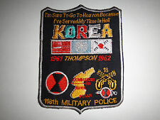 "US 118th Military Police 7th Infantry Division ""KOREA 1961 THOMPSON 1962"" Patch"
