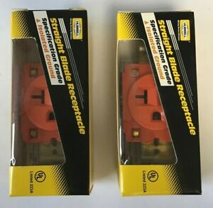 HUBBELL IG5361 STRAIGHT BLADE RECEPTACLE 2POLE 20A 125V***LOTOF2***