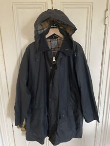Barbour Border Waxed Jacket Blue 44 XL New Hooded Liner Rare Stunning Classic