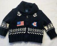 Baby Gap Boys 3-6 Months Navy Blue Nautical Anchor USA Flag Ahoy Sweater