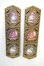 Vintage Set Brass Picture Collage Frame With Wilting Roses Wall Hanging Art