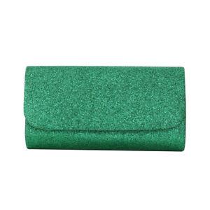 Premium Small Metallic Glitter Flap Clutch Evening Bag Handbag - Diff Colors
