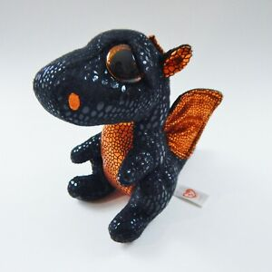 "TY Beanie Boos 6"" Merlin Black Dragon Plush Orange Halloween Walgreens Exclusive"