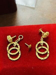 "22C Fine 916 Saudi Real Fine UAE Gold Women's Dangle Set Earring 1"" Long 4.0g"