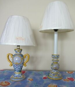NEW LAMPS Small Pair Multi-Colored Table Lamps & Shades - 60w/ Bed or Livingroom