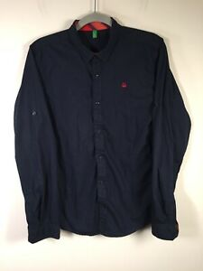 United Colours of Benetton mens navy blue button up shirt size S slim fit cotton