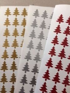 40 XMAS TREE SHAPES WINE GLASS/ CARD /ENVELOPE VINYL STICKERS / DECAL  CHRISTMAS