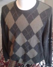 PAOLO MONDO Cashmere Sweater size XXL  with argyle pattern crewneck