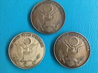 "Lot of 3 - 2 1/2"" Military Service Medallion U S Seal Flag Case Dash Plaque Gold"