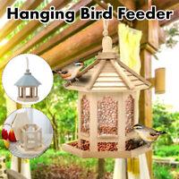 Wooden Hanging Bird Feeder Wild Bird Hotel Outdoor Garden Ornament Nest Box