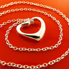S/F Ladies Heart Design Pendant Fs3A977 Necklace Chain Real 925 Sterling Silver