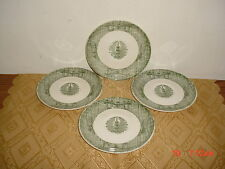 "4-PIECE ROYAL CHINA ""CURRIER & IVES"" 6"" CHURN SAUCERS/GRN-WHT/AS IS/FREE SHIP!"