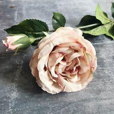 Antique Pink Artificial Rose, Luxury Faux Silk Flower - Vintage Roses