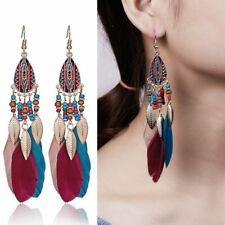 Women Feather Leaf Beads Tassel Earrings Boho Long Water Drop Dangle Ear Hook