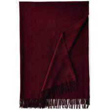 Ralph Lauren Bohemian Muse Claire Burgundy Wool Fringe Throw Blanket 54 x 72 NWT