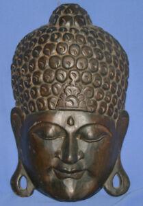 Vintage Hindu Deity Mask Hand Carving Wood Wall Decor