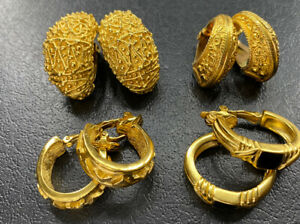Vtg to Now Egyptian Revival Hoop Clip On Earring Lot Etruscan Gold Tone Jewelry