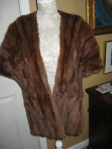 BROWN Mink Fur Shoulder Stole Shawl Shrug Satin lined Wrap with Pockets Vintage