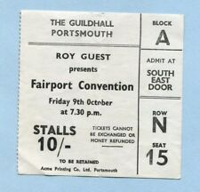 1970 Fairport Convention concert ticket stub Guildhall Portsmouth UK Full House