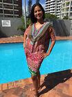 Embellished Silk Kaftans V-DRESS Pink Tribal Kaftan Size12-14-16-18-20-22