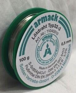 armack Lötdraht Typ32-3 Lötzinn 100 g ø0,5mm Sn95Ag4Cu1(Sn95,5Ag3,8Cu0,7)