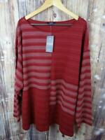 NWT Women's CHAPS Burgundy & White Striped Long Sleeve Shirt Top Plus Size 2X