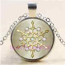 Christmas Diamond Snowflake Cabochon Glass Tibet Silver Pendant Necklace