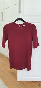 EMILIA WICKSTEAD Wool Burgundy Short Sleeve Fitted Top Kate UK10/US6