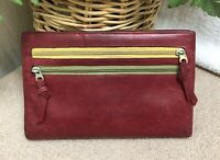 Alicia Klein Red Leather Wallet Bifold Travel Organizer ID Pocket Distressed GPC
