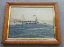 SILK PICTURE - WWI Light Cruiser - HMS NEWCASTLE - China Station 1913-1915