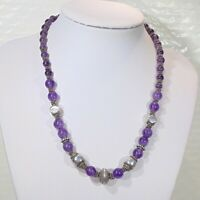 Sterling silver natural amethyst gemstone graduated beads artisan necklace 16.5""