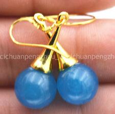 10MM Beautiful Natural Apatite Gemstone Gold-plated Dangle Earrings C40292