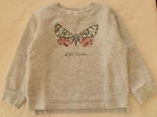 ZARA Pullover 104 110 Cardigan Sweatshirt Shirt Hoody grau Glitzer Schmetterling
