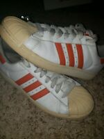 Adidas Shell Toe Sneakers Shoes Mens 10 White Orange  3 Stripes used