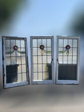 More details for three reclaimed leaded light stained glass art nouveau wooden window panels
