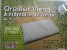 OREILLER VISCO A MEMOIRE DE FORME 40 X 60 cm 50% FIBRE DE BAMBOU ET 50% POYESTER