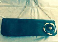 NOIR NYC Black Leather Clutch w/ Flower Adornment Gold Chain SZ M