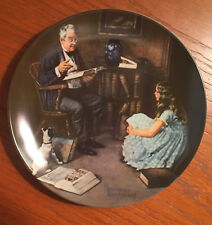 "1984 Norman Rockwell ""The Storyteller"" Collectors Plate Edwin M. Knowles W Coa"